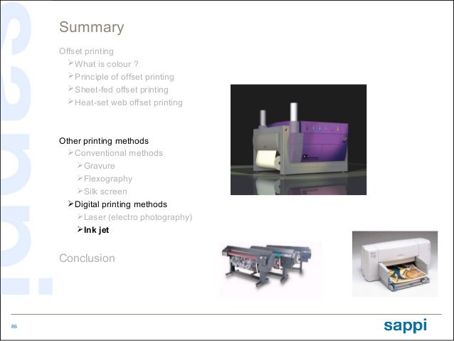 Summary     Offset printing       What is colour ?       Principle of offset printing       Sheet-fed offset printing  ...