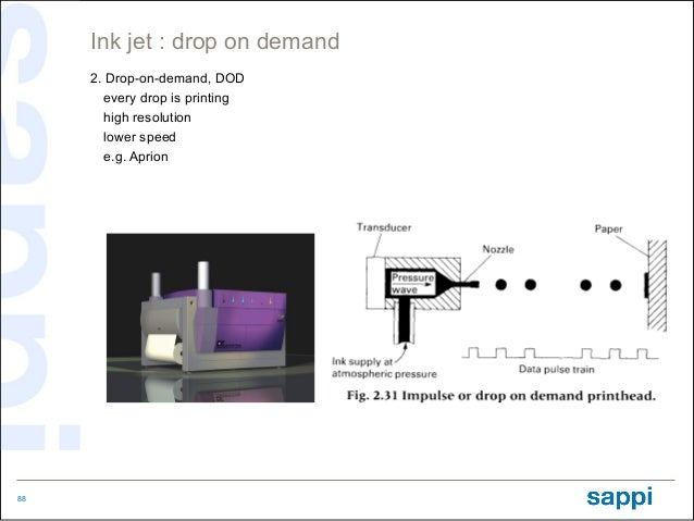 Ink jet : drop on demand     2. Drop-on-demand, DOD        every drop is printing        high resolution        lower spee...