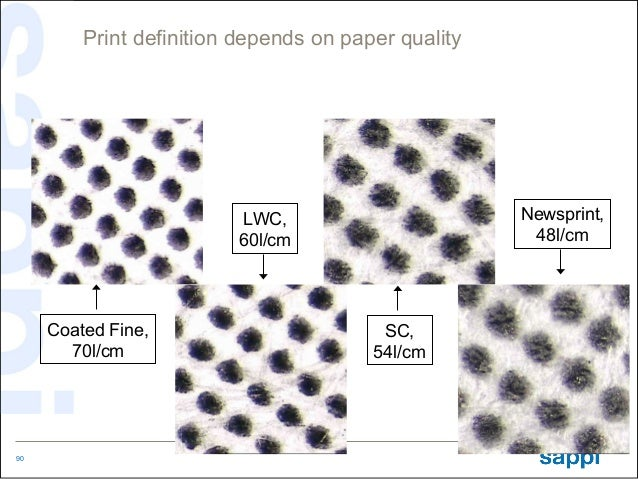 Print definition depends on paper quality                         LWC,                        Newsprint,                  ...