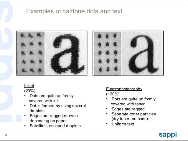Examples of halftone dots and text     Inkjet     (20%)                              Electrophotography     • Dots are qui...