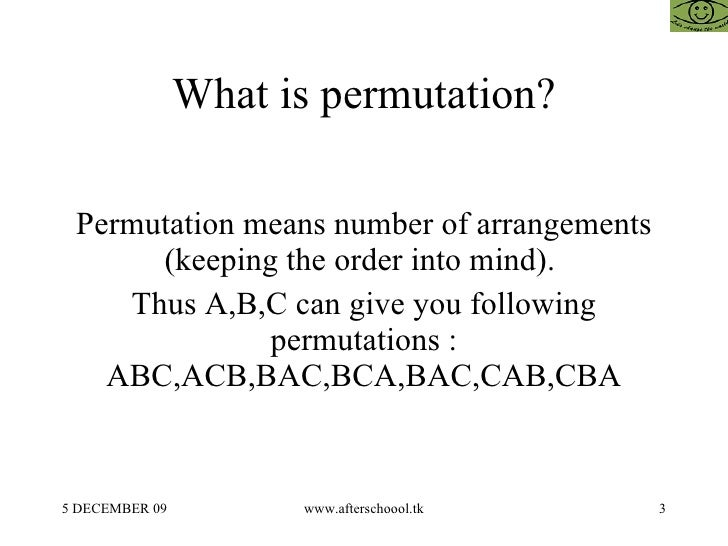 What is permutation? Permutation means number of arrangements (keeping the order into mind).  Thus A,B,C can give you foll...