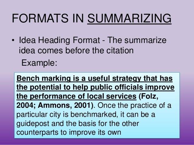 basics of summarizing