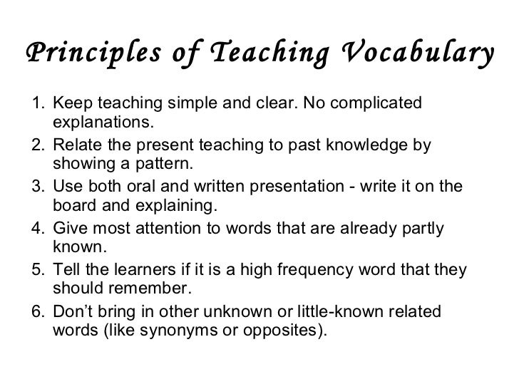 an approach to basic vocabulary development for For a more complete discussion of the strength of the evidence for each of the 14 guidelines based on population, outcomes, and replication, see william saunders and claude goldenberg's chapter, research to guide english language development instruction, in improving education for english learners: research-based approaches.