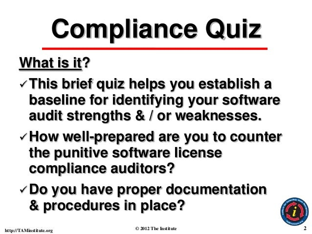 Basic Software License & Copyright Compliance Quiz