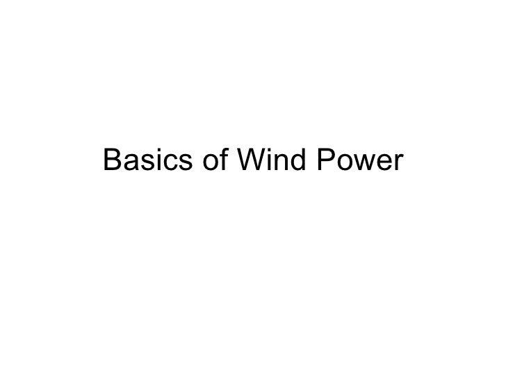 Basics of Wind Power