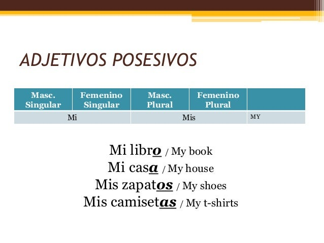 Basic Spanish grammar: Possessive adjectives