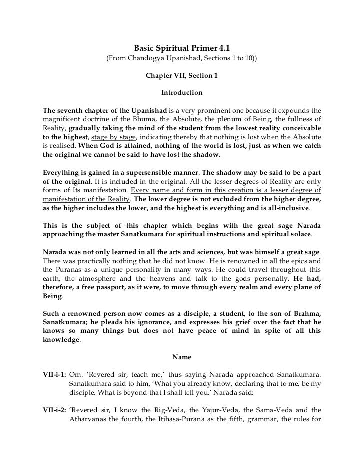 Basic Spiritual Primer 4.1                    (From Chandogya Upanishad, Sections 1 to 10))                               ...