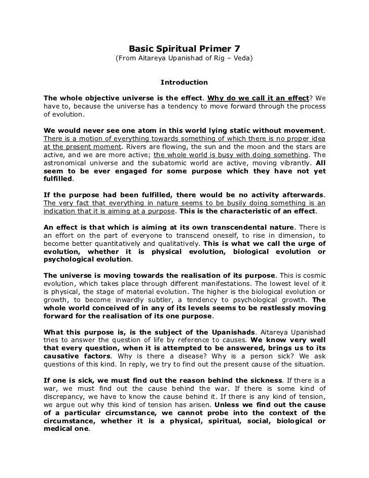 Basic Spiritual Primer 7                      (From Aitareya Upanishad of Rig – Veda)                                    I...