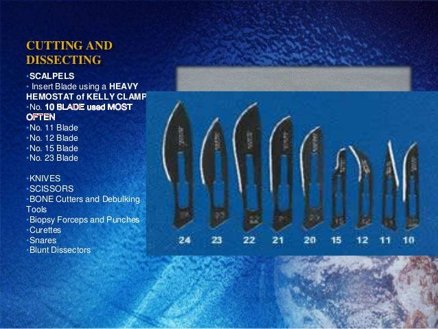 CUTTING ANDDISSECTING•SCALPELS• Insert Blade using a HEAVYHEMOSTAT of KELLY CLAMP•No.•No. 11 Blade•No. 12 Blade•No. 15 Bla...