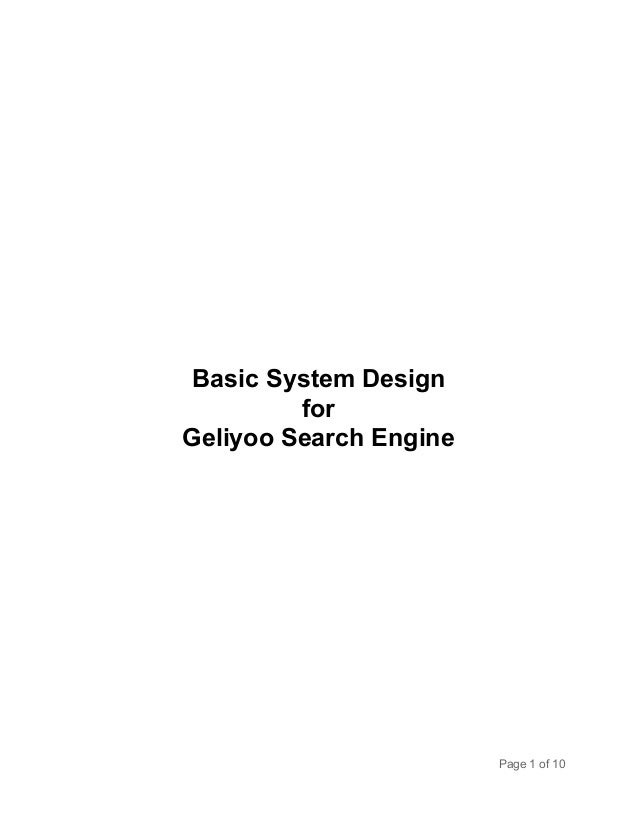 Basic System Design for Geliyoo Search Engine  Page 1 of 10