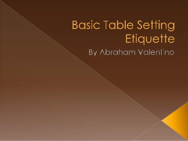 Basic Table Setting Etiquette