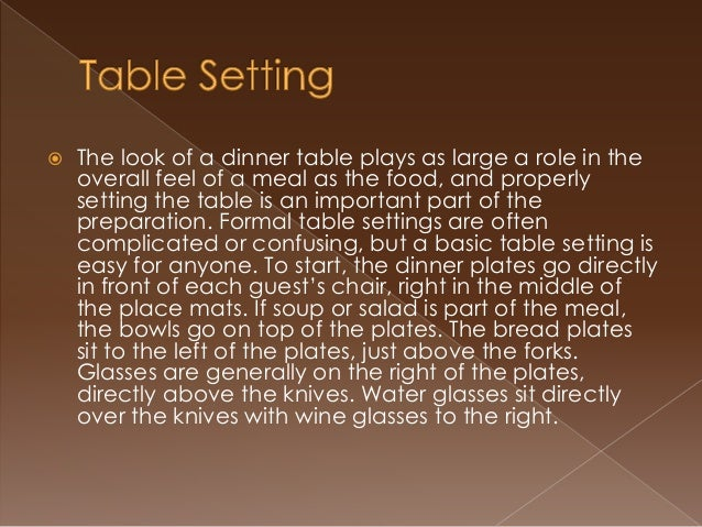 3. & Basic Table Setting Etiquette