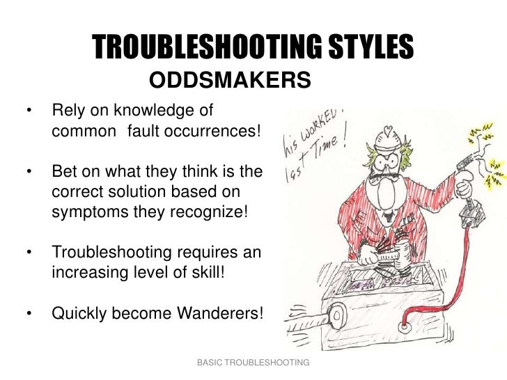 TROUBLESHOOTING STYLES                  ODDSMAKERS •   Rely on knowledge of     common fault occurrences!  •   Bet on what...
