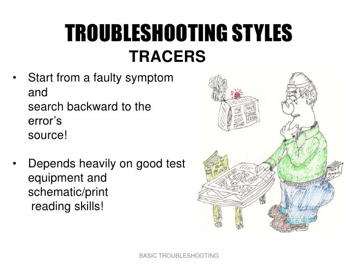 TROUBLESHOOTING STYLES                     TRACERS • Start from a faulty symptom   and   search backward to the   error's ...