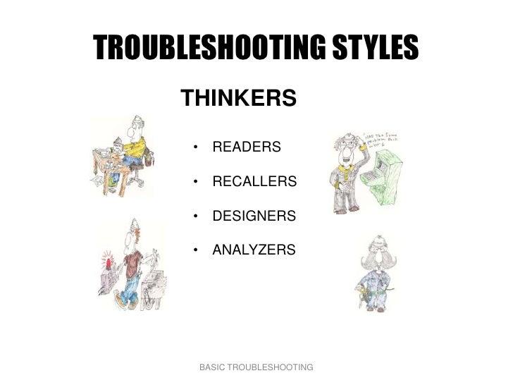 TROUBLESHOOTING STYLES      THINKERS        • READERS        • RECALLERS        • DESIGNERS        • ANALYZERS            ...