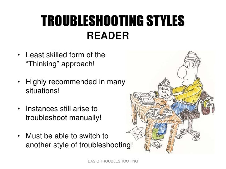 """TROUBLESHOOTING STYLES                      READER • Least skilled form of the   """"Thinking"""" approach!  • Highly recommende..."""
