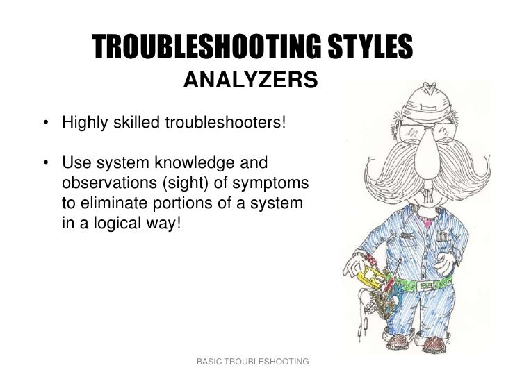 TROUBLESHOOTING STYLES                   ANALYZERS • Highly skilled troubleshooters!  • Use system knowledge and   observa...