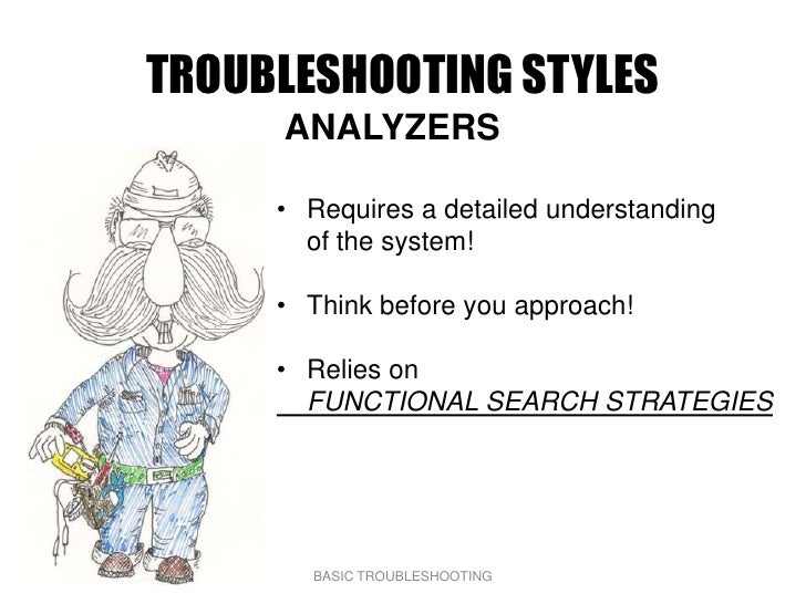 TROUBLESHOOTING STYLES      ANALYZERS       • Requires a detailed understanding        of the system!       • Think before...