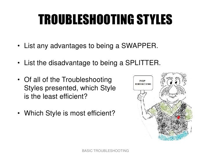 TROUBLESHOOTING STYLES • List any advantages to being a SWAPPER.  • List the disadvantage to being a SPLITTER.  • Of all o...