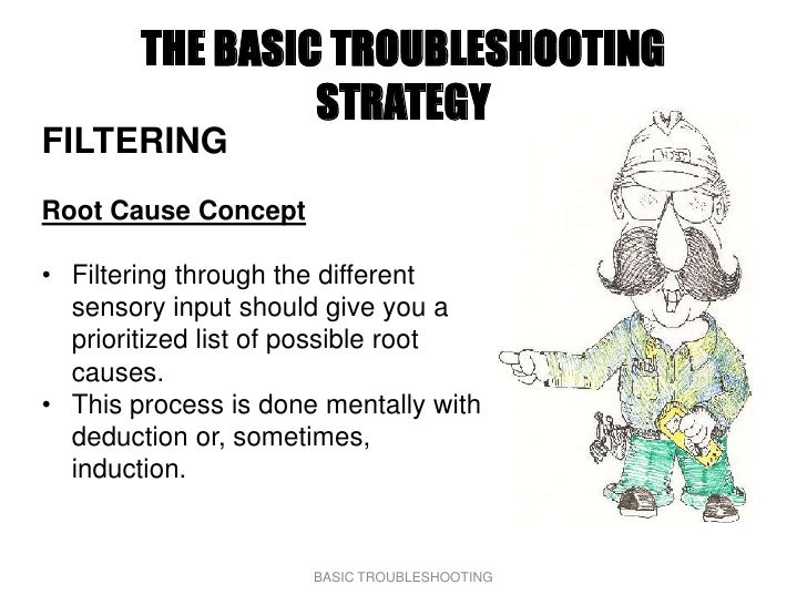 THE BASIC TROUBLESHOOTING                  STRATEGY FILTERING Root Cause Concept  • Filtering through the different   sens...
