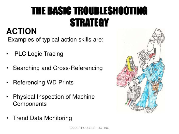 THE BASIC TROUBLESHOOTING                   STRATEGY ACTION Examples of typical action skills are:  •   PLC Logic Tracing ...