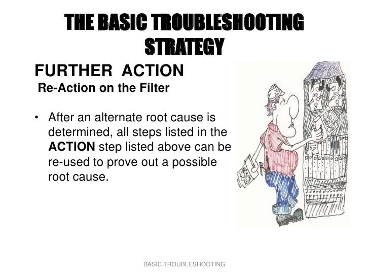 THE BASIC TROUBLESHOOTING               STRATEGY FURTHER ACTION Re-Action on the Filter  • After an alternate root cause i...