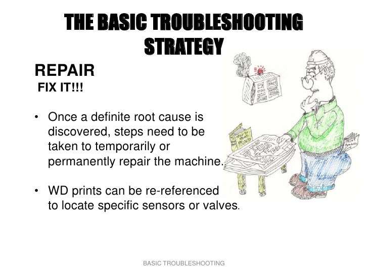 THE BASIC TROUBLESHOOTING               STRATEGY REPAIR FIX IT!!!  • Once a definite root cause is   discovered, steps nee...