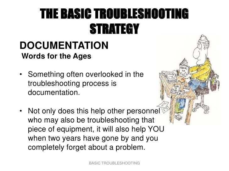 THE BASIC TROUBLESHOOTING                STRATEGY DOCUMENTATION Words for the Ages  • Something often overlooked in the   ...