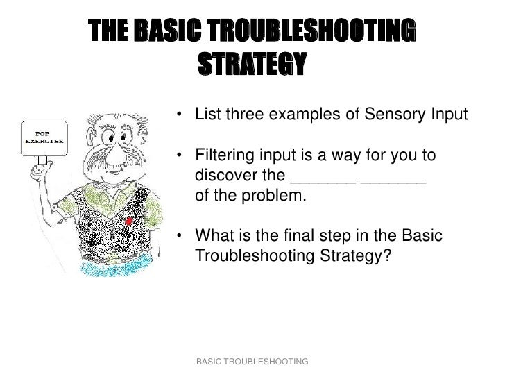 THE BASIC TROUBLESHOOTING          STRATEGY       • List three examples of Sensory Input        • Filtering input is a way...