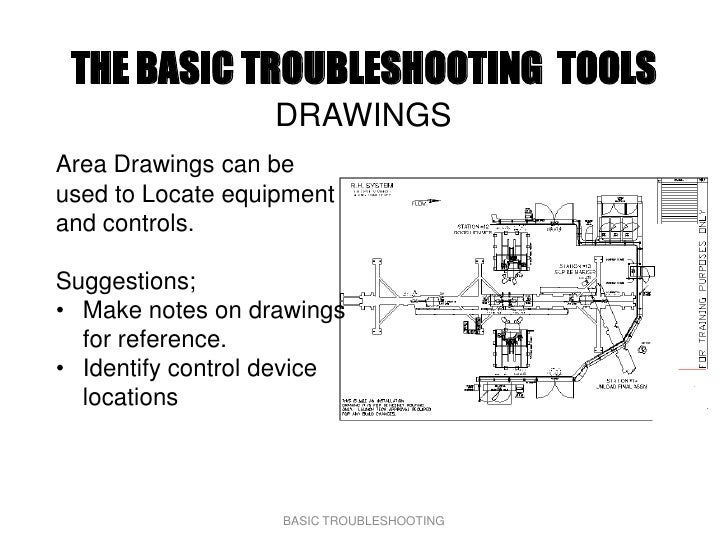 THE BASIC TROUBLESHOOTING TOOLS                   DRAWINGS Area Drawings can be used to Locate equipment and controls.  Su...