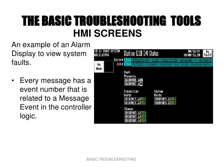 THE BASIC TROUBLESHOOTING TOOLS                    HMI SCREENS An example of an Alarm Display to view system faults.  • Ev...