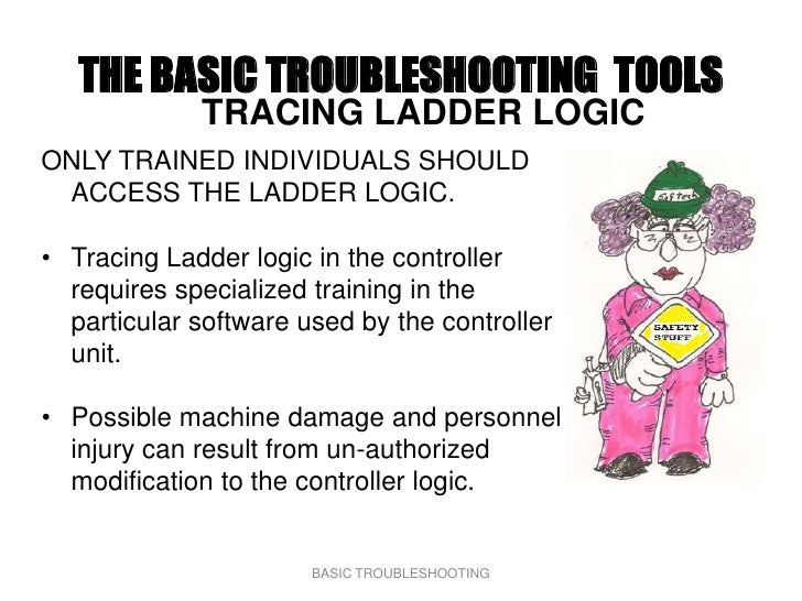 THE BASIC TROUBLESHOOTING TOOLS              TRACING LADDER LOGIC ONLY TRAINED INDIVIDUALS SHOULD  ACCESS THE LADDER LOGIC...