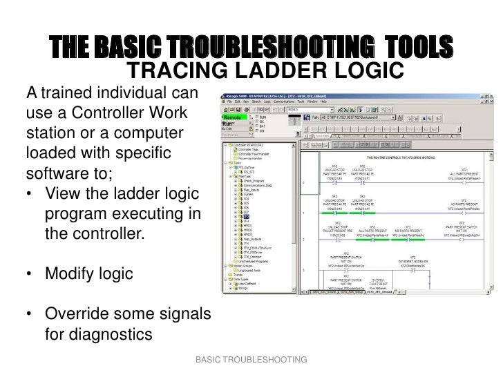 THE BASIC TROUBLESHOOTING TOOLS              TRACING LADDER LOGIC A trained individual can use a Controller Work       Rem...