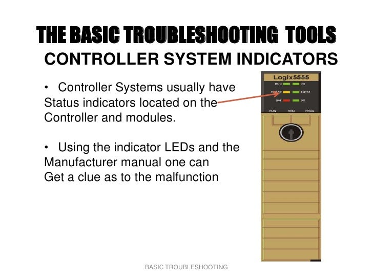 THE BASIC TROUBLESHOOTING TOOLS CONTROLLER SYSTEM INDICATORS • Controller Systems usually have Status indicators located o...