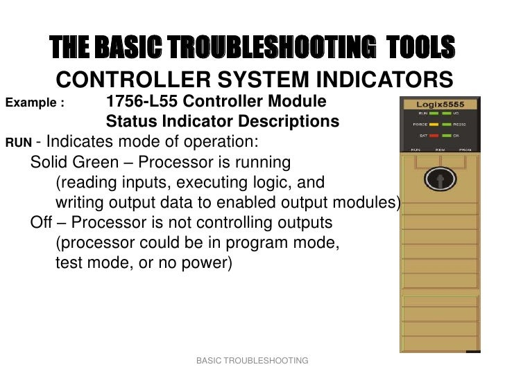 THE BASIC TROUBLESHOOTING TOOLS        CONTROLLER SYSTEM INDICATORS Example :      1756-L55 Controller Module             ...