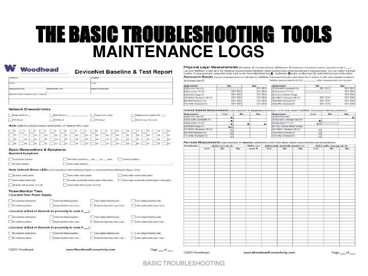 THE BASIC TROUBLESHOOTING TOOLS      MAINTENANCE LOGS                BASIC TROUBLESHOOTING