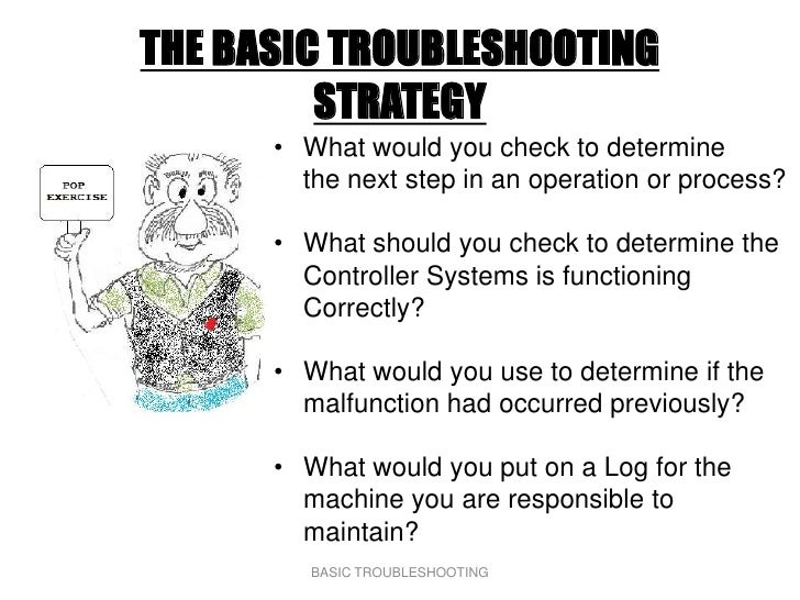 THE BASIC TROUBLESHOOTING          STRATEGY       • What would you check to determine         the next step in an operatio...