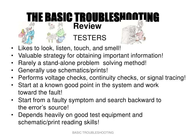 THE BASIC TROUBLESHOOTING                       Review                       TESTERS • Likes to look, listen, touch, and s...