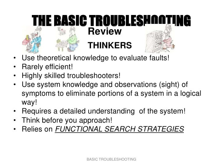 THE BASIC TROUBLESHOOTING                       Review                       THINKERS • Use theoretical knowledge to evalu...