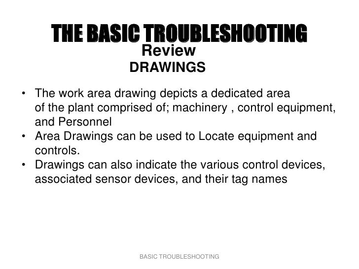 THE BASIC TROUBLESHOOTING                       Review                     DRAWINGS • The work area drawing depicts a dedi...