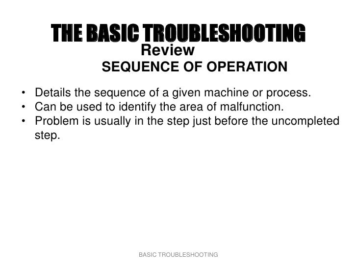 THE BASIC TROUBLESHOOTING                       Review                SEQUENCE OF OPERATION • Details the sequence of a gi...