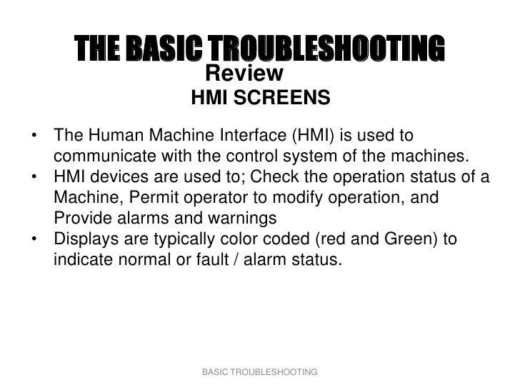 THE BASIC TROUBLESHOOTING                      Review                     HMI SCREENS • The Human Machine Interface (HMI) ...