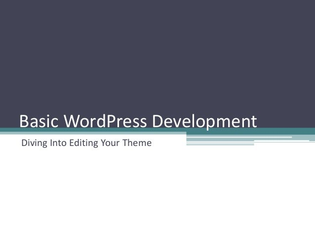 Basic WordPress DevelopmentDiving Into Editing Your Theme