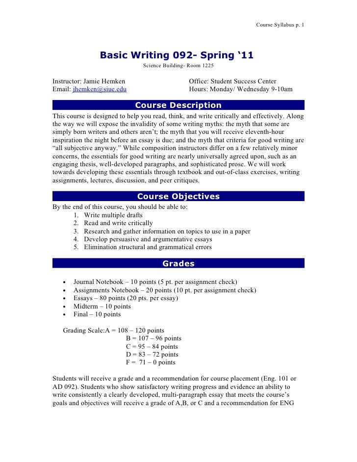 Course Syllabus p. 1                 Basic Writing 092- Spring '11                                 Science Building- Room ...