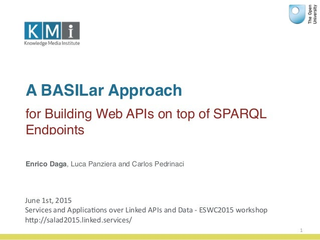 A BASILar Approach for Building Web APIs on top of SPARQL Endpoints 1 Enrico Daga, Luca Panziera and Carlos Pedrinaci June...