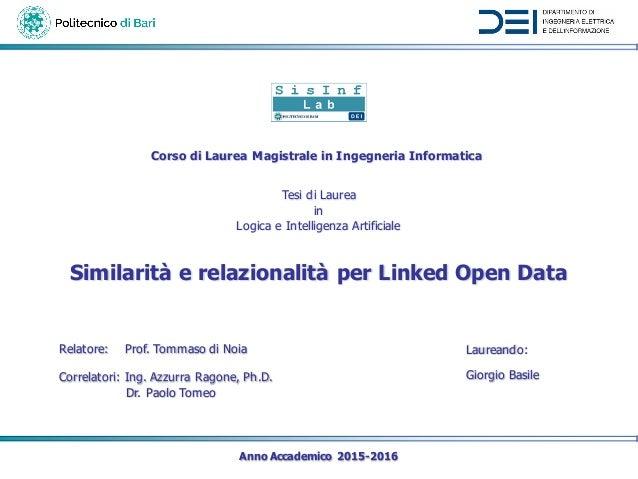 Anno Accademico 2015-2016 Relatore: Prof. Tommaso di Noia Laureando: Giorgio BasileCorrelatori: Ing. Azzurra Ragone, Ph.D....