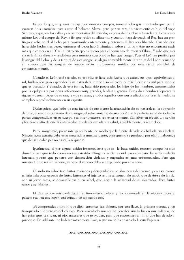las doce llaves de la filosofia - l de Basilio valentin