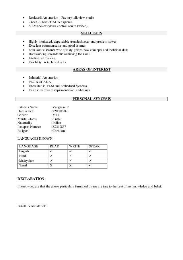 basil varghese project engineer resume