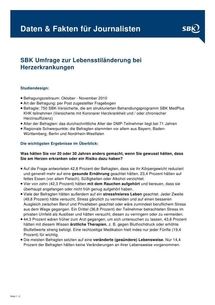 Daten & Fakten für Journalisten              SBK Umfrage zur Lebensstiländerung bei              Herzerkrankungen         ...
