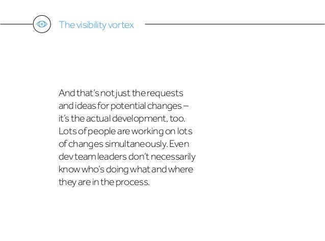 Thevisibilityvortex Andthat'snotjusttherequests andideasforpotentialchanges– it'stheactualdevelopment,too. Lotsofpeopleare...